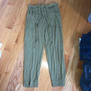 Anthropologie Straight Leg Olive Green Pants